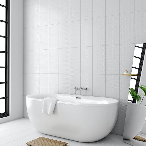 Laura Ashley Marise field white wall tile 248mm x 498mm