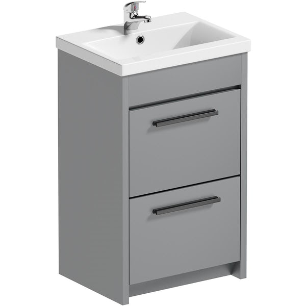 Clarity close coupled toilet and satin grey vanity unit suite 510mm with black handles