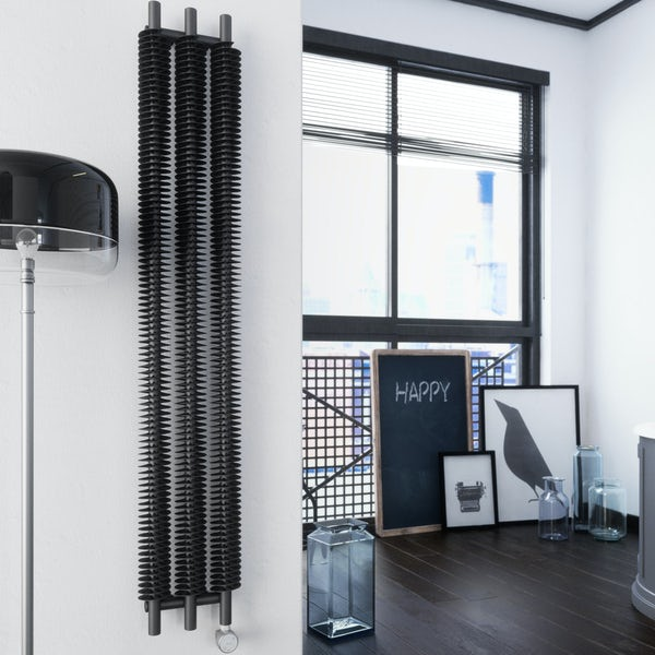 Terma Ribbon VE metallic grey electric radiator 1800 x 290 with MOA Blue element - silver