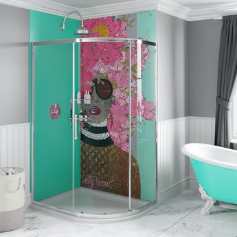 Louise Dear Kiss Kiss Bam Bam Green acrylic shower wall panel pack with right handed offset quadrant enclosure