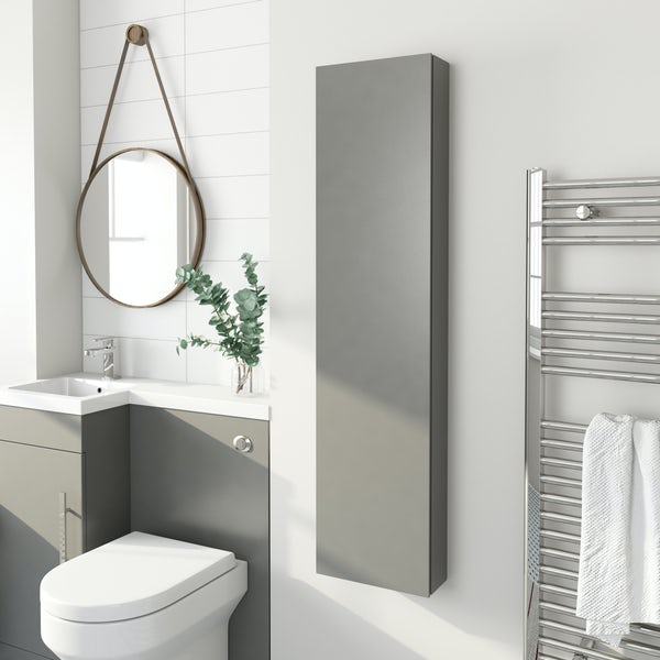 Accents Slimline slate matt wall hung cabinet 1250 x 300mm