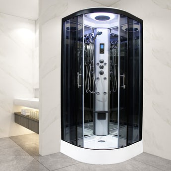 Insignia Premium black framed quadrant shower cabin with tinted glass