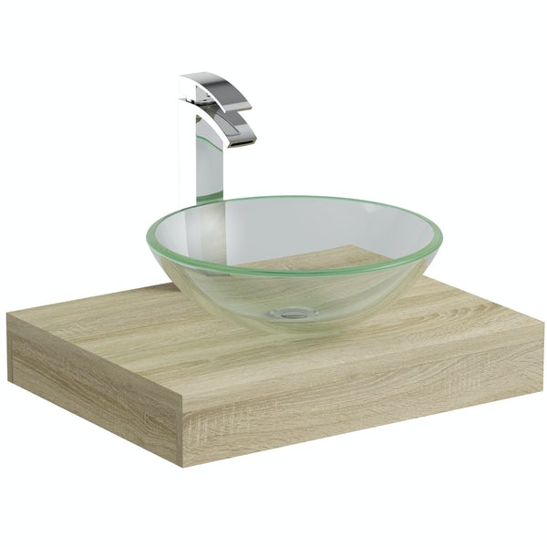 Mode Orion oak countertop shelf with Mackintosh basin, tap and waste