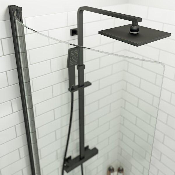 Orchard P shaped left handed shower bath with 6mm matt black shower screen 1500 x 850