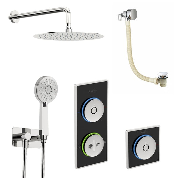 SmarTap black smart shower system with complete round wall shower outlet bath set
