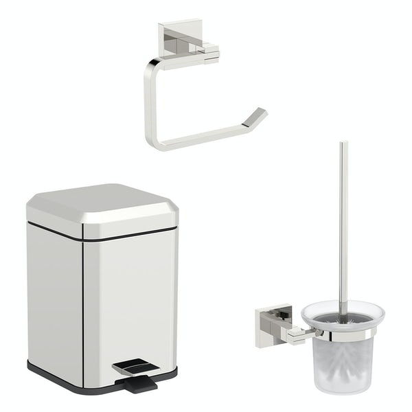 Accents Flex square toilet accessories set with 6 litre bin