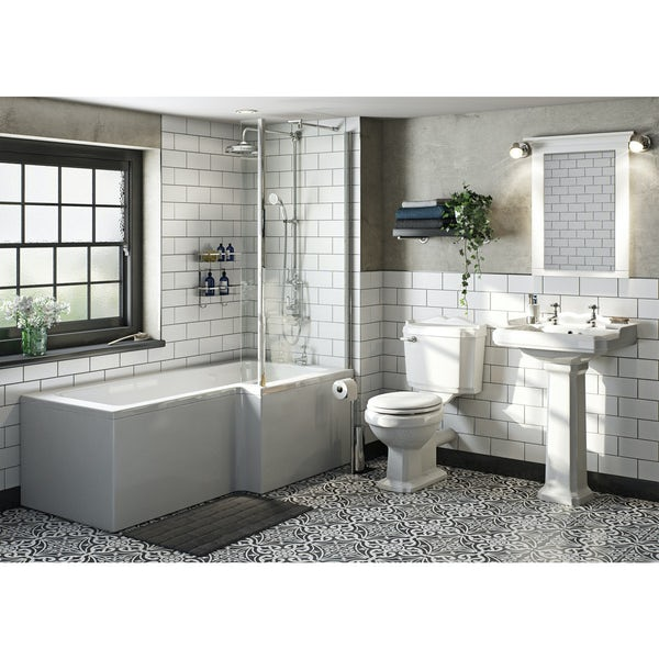 Winchester Bathroom Suite with Boston 1700 x 850 Shower Bath RH