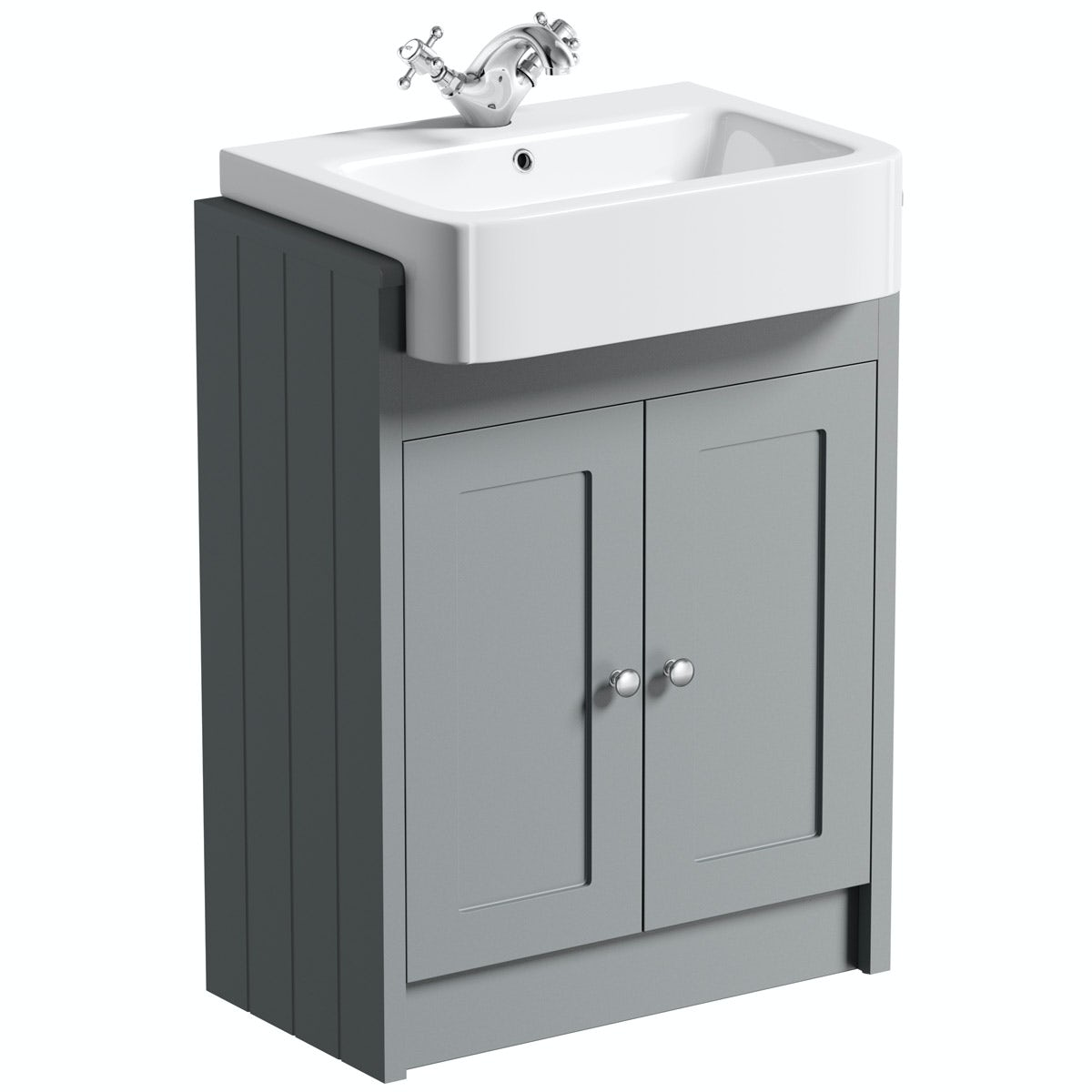 The Bath Co. Dulwich stone grey semi recessed vanity with ...