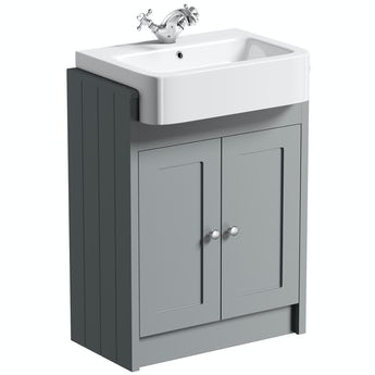 The Bath Co. Dulwich stone grey floorstanding vanity unit with semi recessed basin 600mm
