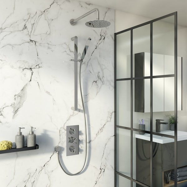 Mode Tate thermostatic mixer shower with wall shower and slider rail