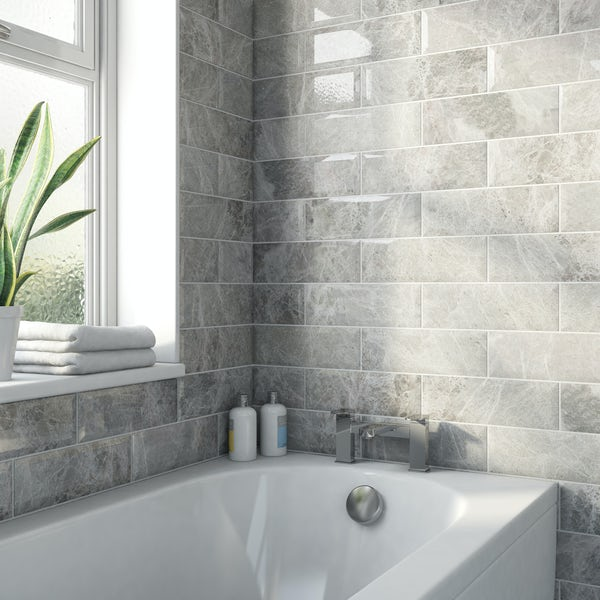 Maxi Metro silver marble bevelled gloss wall tile 100mm x 300mm