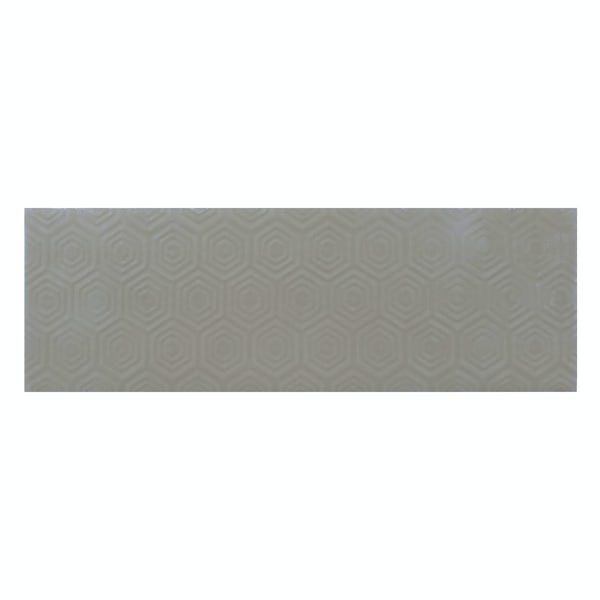Zenith light grey patterned gloss wall tile 100mm x 300mm