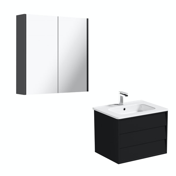 Mode Cooper anthracite black vanity unit 600mm and mirror offer