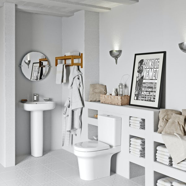 Mode Burton cloakroom suite with full pedestal basin 550mm