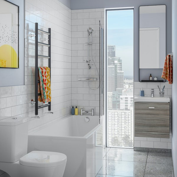 Ideal Standard Concept Space elm complete right handed shower bath suite with shower, bath screen, taps, panel and waste 1700 x 700