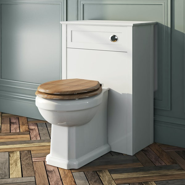 The Bath Co. Camberley back to wall toilet with oak effect wooden soft close seat