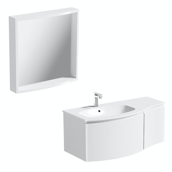 Mode Harrison snow left handed wall hung vanity unit 1000mm with mirror