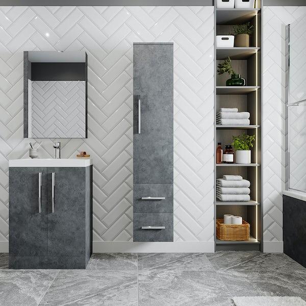 Orchard Kemp riven grey wall hung cabinet 1607 x 326mm