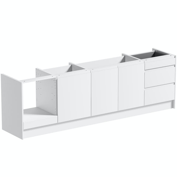 Schon Chicago white slab kitchen base unit bundle