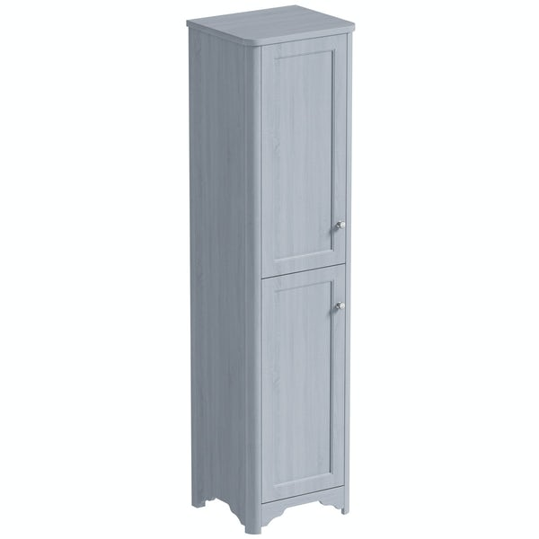 The Bath Co. Beaumont powder blue tall storage unit