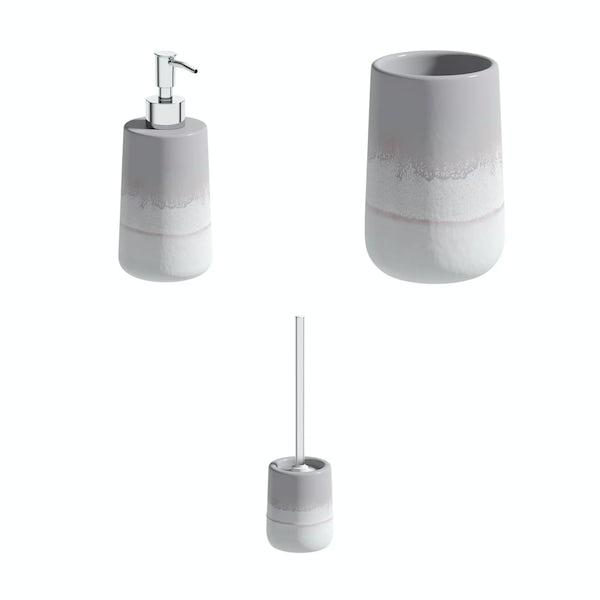 Accents Marloes grey ombre ceramic 3 piece bathroom set
