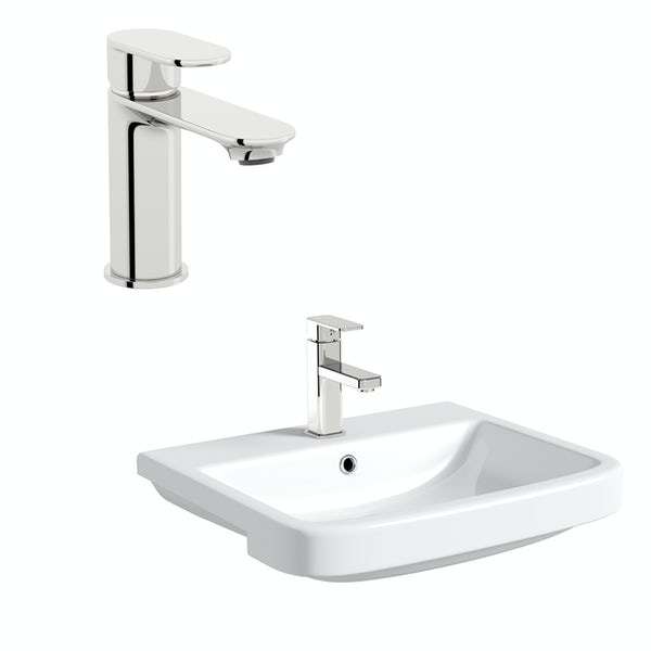 Mode Carter 1 tap hole semi recessed countertop basin 550mm with tap