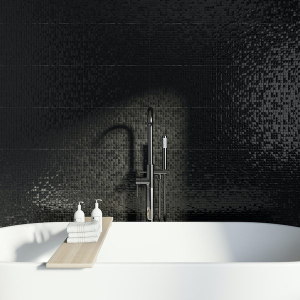 Studio Conran hartland black pressed mosaic tile 248mm x 398mm