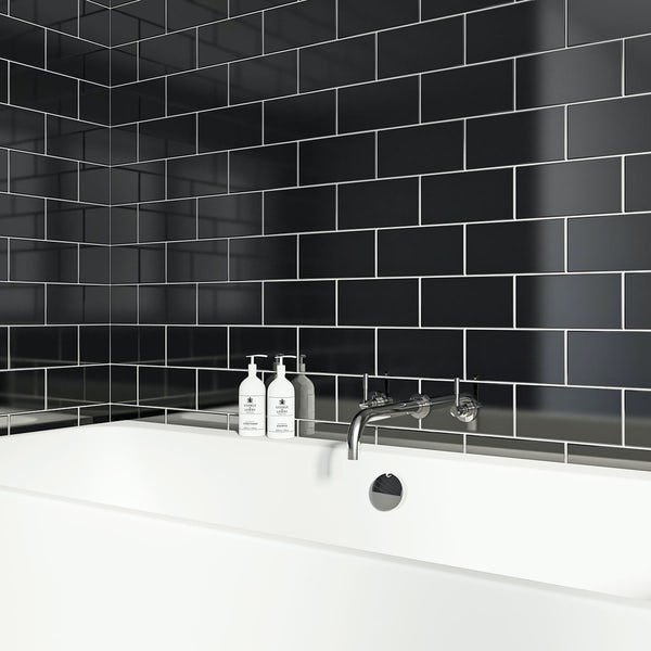 British Ceramic Tile Metro flat black gloss tile 100mm x 200mm