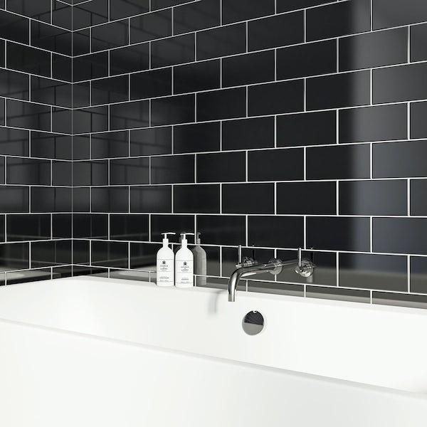 British Ceramic Tile Metro Flat Black Gloss 100mm X 200mm