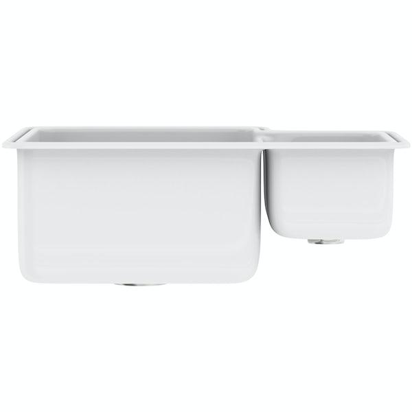 Tuscan Poppi ceramic 1.5 bowl polar white right handed undermount kitchen sink