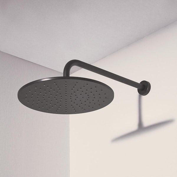 Ideal Standard Idealrain silk black round 300mm shower head + wall arm