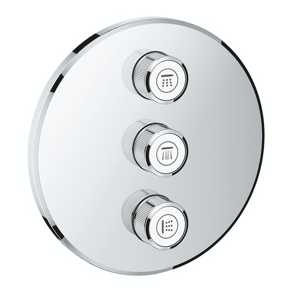 Grohe Grohtherm SmartControl round triple volume control shower valve trimset