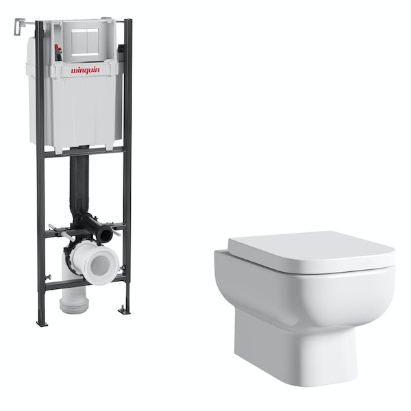 RAK Series 600 wall hung toilet with soft close seat and wall mounting frame with push plate cistern