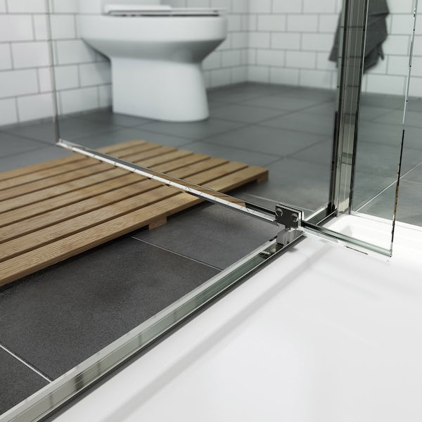 Orchard 6mm pivot hinged rectangular shower enclosure with stone tray