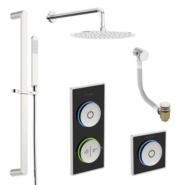 SmarTap black smart shower system with complete round wall shower bath set