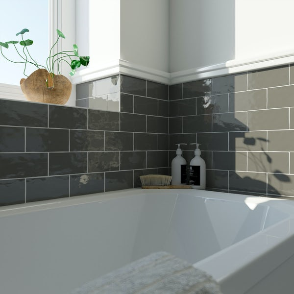 Laura Ashley Artisan charcoal grey wall tile 75mm x 150mm