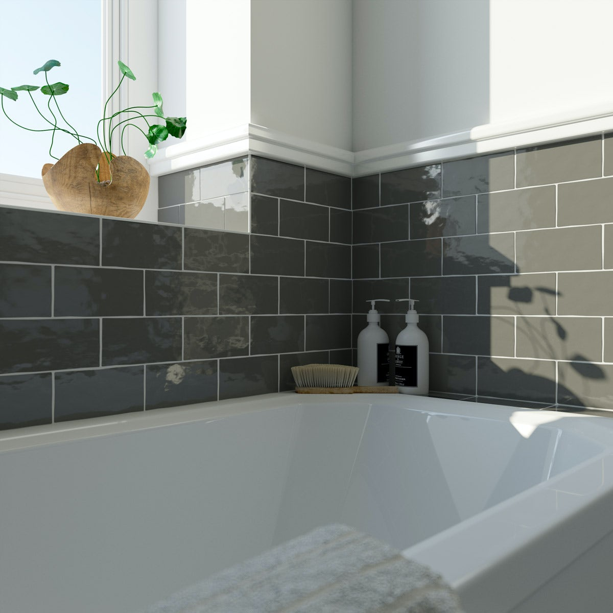 Laura Ashley Artisan Charcoal Grey Gloss Wall Tile 75mm X 150mm