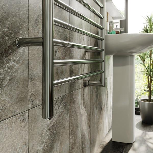 The Heating Co. Electric chrome heated towel rail 800 x 600