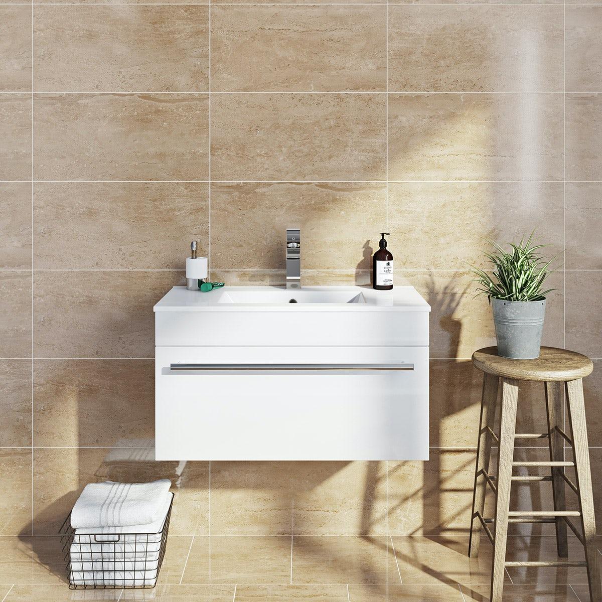 British Ceramic Tile Lux Sand Beige Gloss Tile 298mm X 598mm
