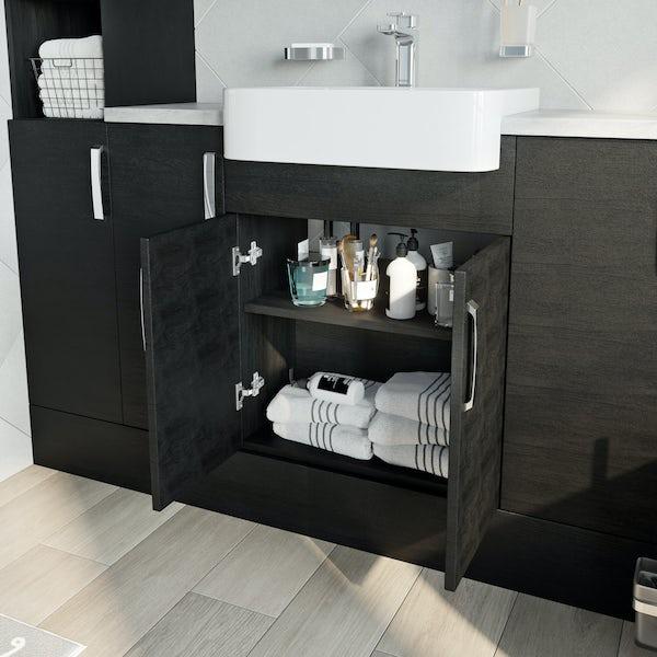 Reeves Nouvel quadro black floorstanding vanity unit 600mm