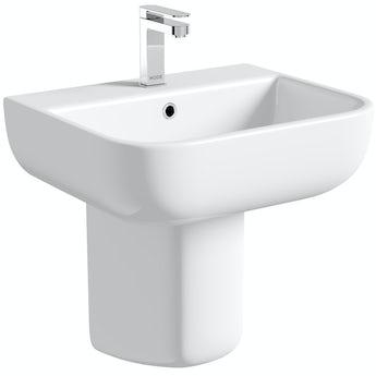 RAK Series 600 1 tap hole semi pedestal basin 520mm