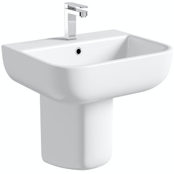 RAK Series 600 semi pedestal basin with 1 tap hole 520mm
