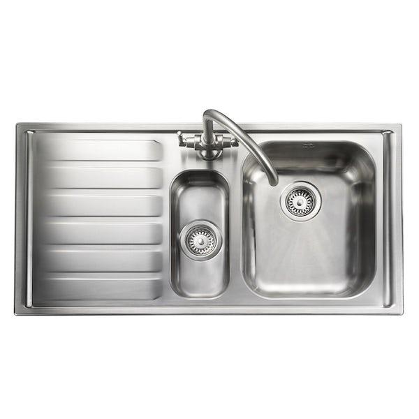 Rangemaster Manhattan 1.5 bowl left handed kitchen sink with waste kit and Schon C spout WRAS kitchen tap