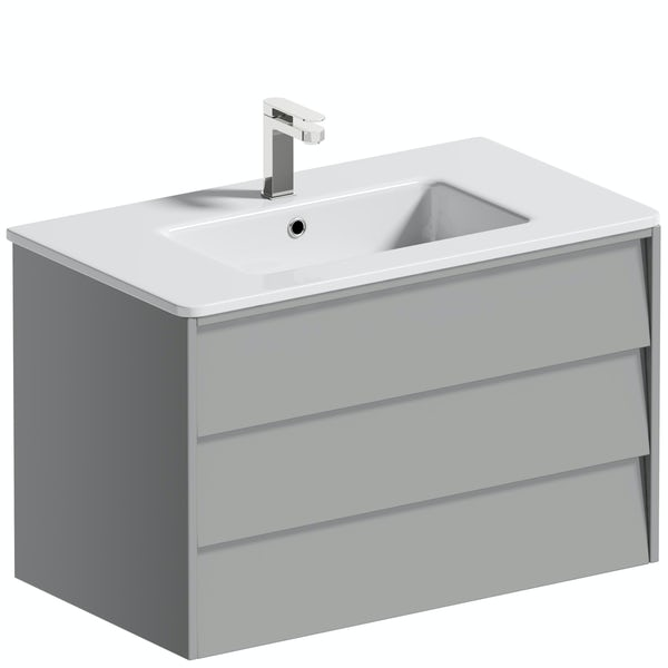 Mode Cortona grey 800mm wall hung vanity unit and basin