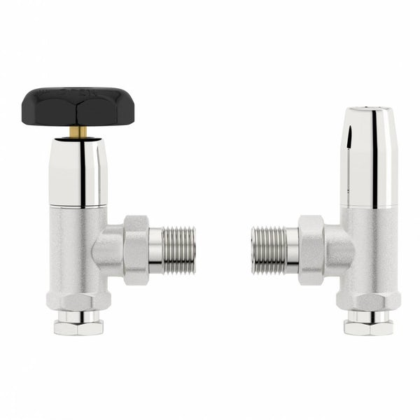 Traditional Angled Radiator Valves with Black Handle