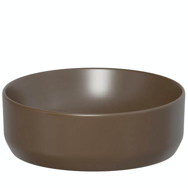 Upside Brown countertop round basin 355mm with waste