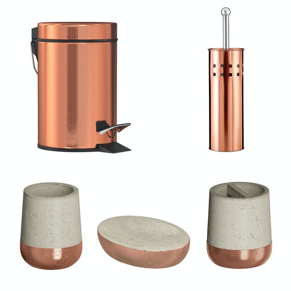 Accents Neptune concrete and copper 5 piece bathroom accessory set