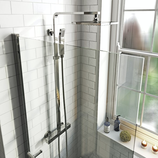 Mode 8mm hinged shower bath screen with rail