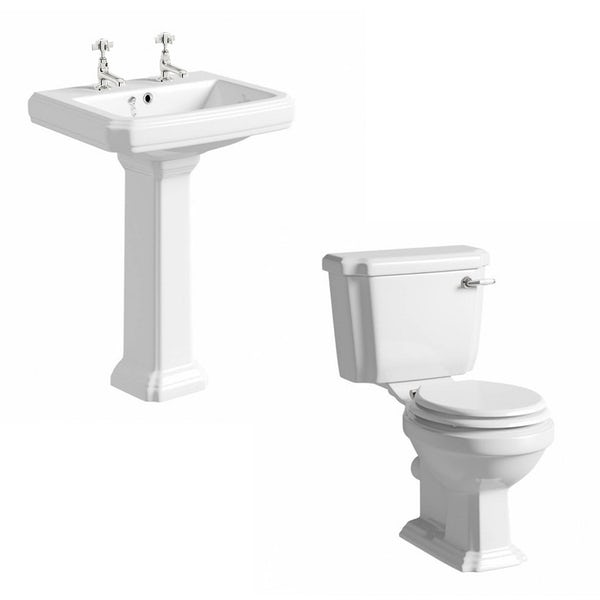 Orchard Dulwich complete cloakroom suite with white seat and full pedestal basin 615mm