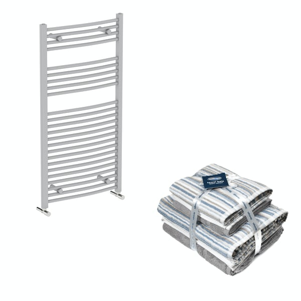Orchard Elsdon stone grey heated towel rail 1150x600 with Silentnight Zero twist grey 4 piece towel bale